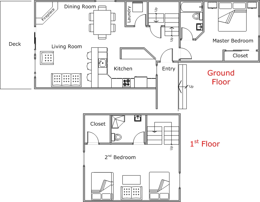 Floor Plan for Custom Mountain Harbor Condo close to Whitefish Lake