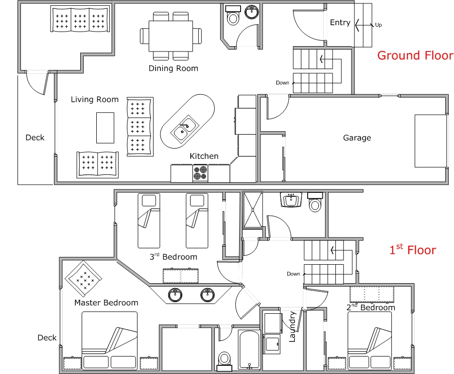 Floor Plan for Spacious 3 Bedroom Condo at Mountain Harbor