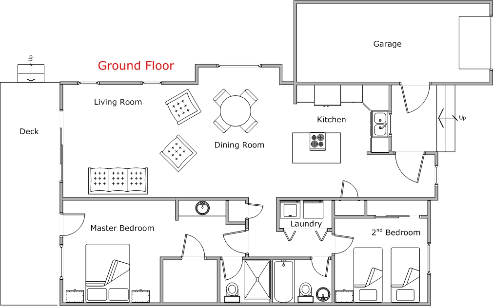 Floor Plan for Spacious, One Level Condo Close to Pool and Hot Tub