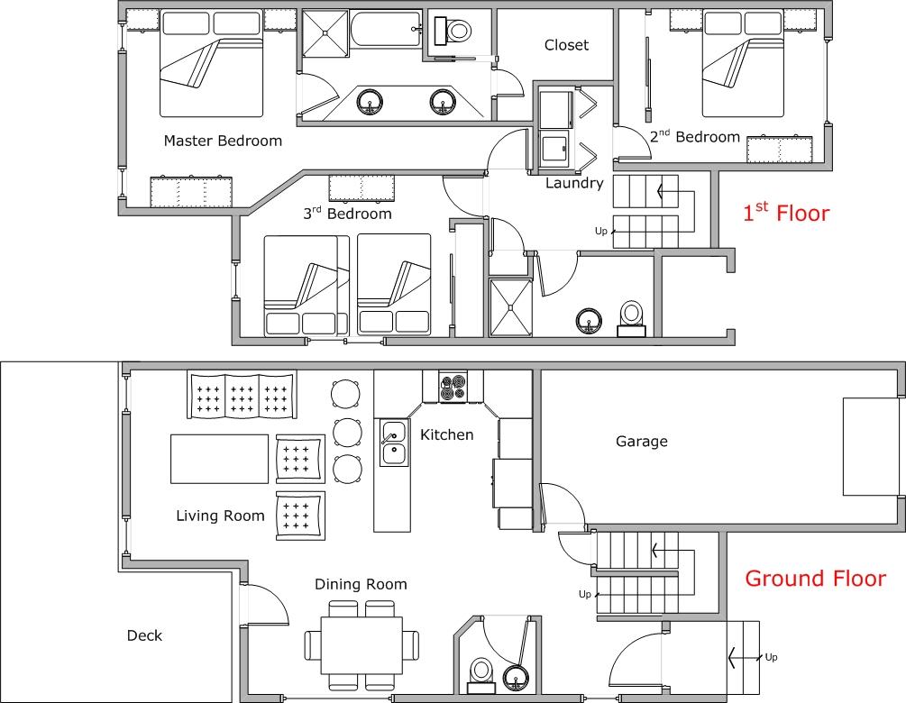 Floor Plan for Spacious 3 Bedroom Condo at Mountain Harbor
