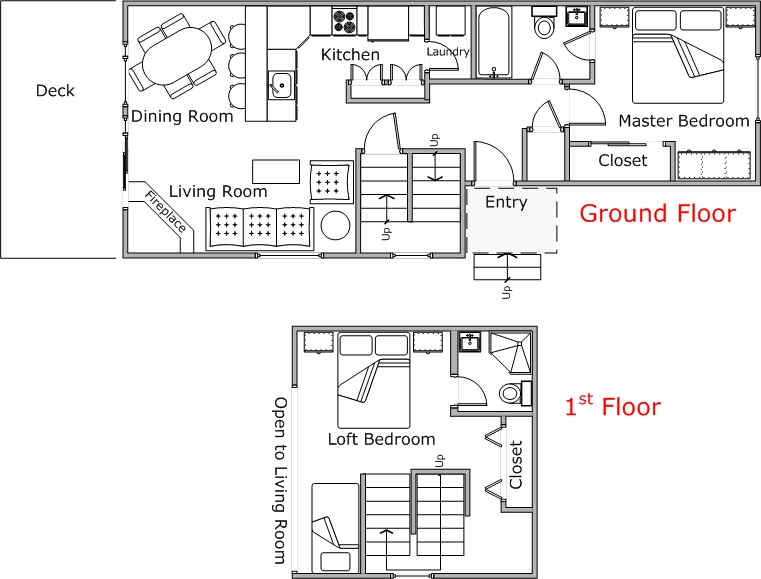 Floor Plan for Poolside Mountain Harbor Condo