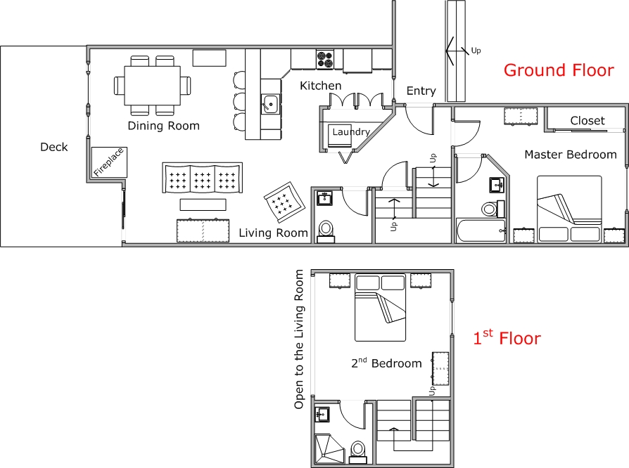 Floor Plan for Poolside 2 Bedroom Mountain Harbor Condo