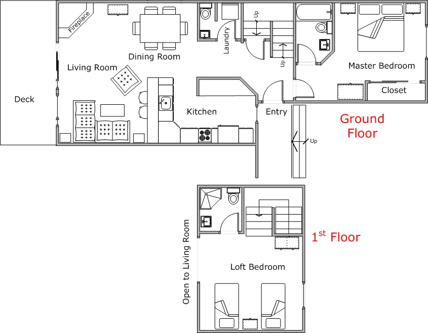 Floor Plan for Cozy Condo Near the Pool & Hot Tub