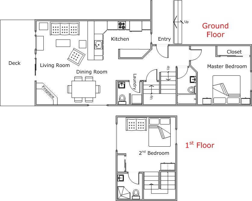 Floor Plan for 2 Bedroom Mountain Harbor Condo
